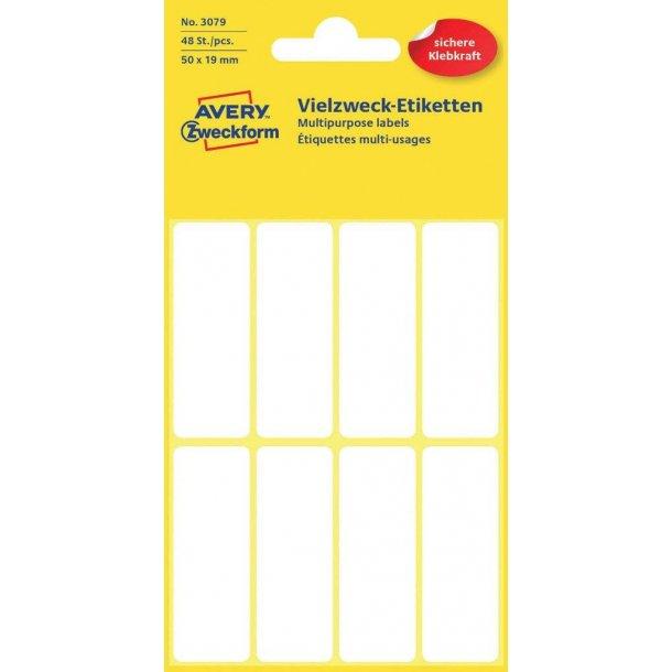 Avery - Etiketter til håndskrivning 50 x 19 mm, permanent - 1 pkk