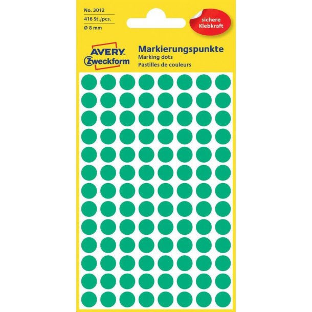 Avery - Farvekodingsdots Til markering, Ø 8 mm, grøn - 1 pkk
